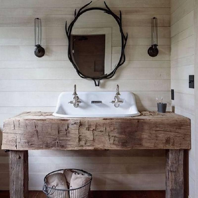 Comptoir de salle de bain en bois naturel
